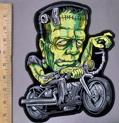 3827 G - DISCONTINUED  Frankenstein Riding A Motorcycle - Back Patch - Embroidery Patch