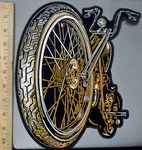 3829 G - Large Front Wheeled Motorcycle - Back Patch - Embroidery Patch