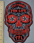 3830 G - DISCONTINUED  Red Sugar Skull Face With Starry Eyes - Tatooed For Life In Forehead - Back Patch - Embroidery Patch