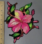 3832 G - DISCONTINUED  Wild Pink Flower - Back Patch - Embroidery Patch
