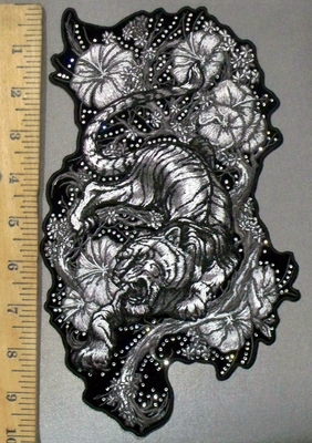 3833 G - Bedazzled Raging Tiger With Wild Flowers - Back Patch - Embroidery Patch