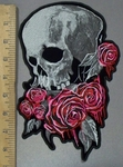 3834 G - DISCONTINUED  Skull Face With Pink Roses - Back Patch - Embroidery Patch