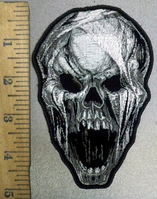 3839 G - Screaming Skull Face - Embroidery Patch