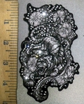 3840 G - Rhinestone - Bling Bling - Raging Tiger With Wild Flowers - Embroidery Patch