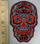 3842 G - Red Sugar Skull Face With Starry Eyes - Tattooed For Life In Forehead - Embroidery Patch