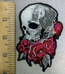 3843 G - Skull With Pink Roses - Embroidery Patch