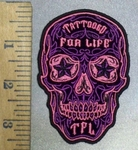 3844 G - Pink Sugar Skull With Starry Eyes and Tattooed For Life In Forehead - Embroidery Patch
