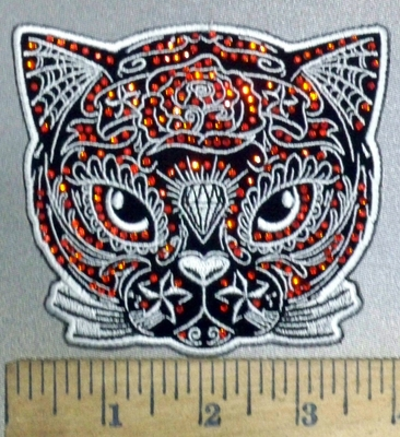 3845 G - Rhinestone - Bling Bling -  Sugar Cat - Embroidery Patch