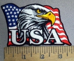 3847 G -  backorder -American Flag With Bald Eagle - USA - Embroidery Patch