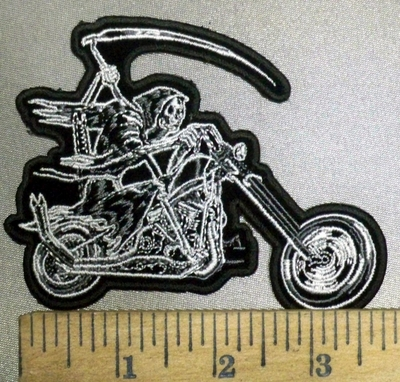 3858 G - Reaper With Scythe Riding Motorcycle - Embroidery Patch