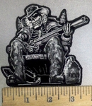 3860 G - Skeleton Man Sitting In Rocker With Moonshine Jug And Pistol - Embroidery Patch