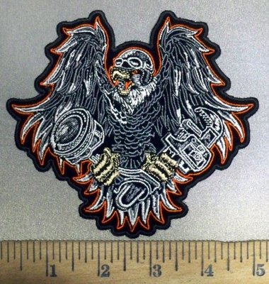 3862 G - DISCONTINUED  Flying Eagle With Bike Piston And Wrench In Claws - Embroidery Patch