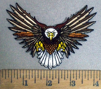 3867 N -Flying  Brown Winged Bald Eagle - Embroidery Patch
