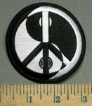 3888 N - Yin And Yang With Peace Sign - Black And White - Embroidery Patch