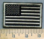 3889 C - Black And Tan American Flag - With Velcro - Embroidery Patch