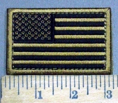 3890 C - Gold And Black American Flag - Velcro - Embroidery Patch