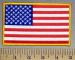 3891 G -5 Inch  American Flag With Yellow Border  - Embroidery Patch
