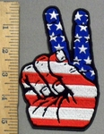 3894 G - Patriotic American Flag Peace Sign - Embroidery Patch