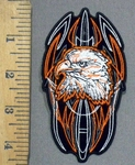 3895 G - Bald Eagle With Celtic Design - Orange -  Embroidery Patch