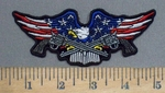 3903 G - American Bald Eagle With Two Pistols In Claws  - Embroidery Patch