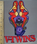 3908 N - Redheaded Twins On  V - Twin Engine - Back Patch - Embroidery Patch
