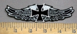 3913 N - Angel Wings With Chopper - Iron Cross Logo - Embroidery Patch