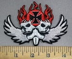 3920 N - Dual Skulls With Flames, Wings And Chopper - Iron Cross Logo - Embroidery Patch