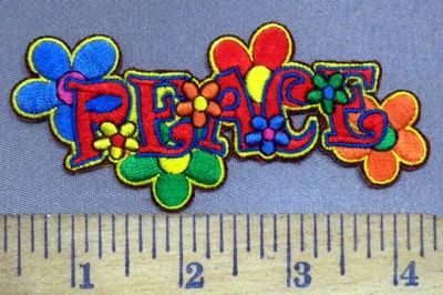 3923 N - Peace With Multi Colored Mini Flowers - Embroidery Patch
