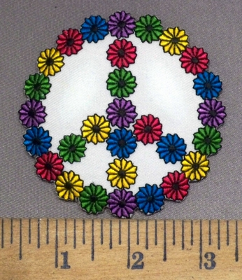 3925 N - Mini Flower Peace Sign - Embroidery Patch