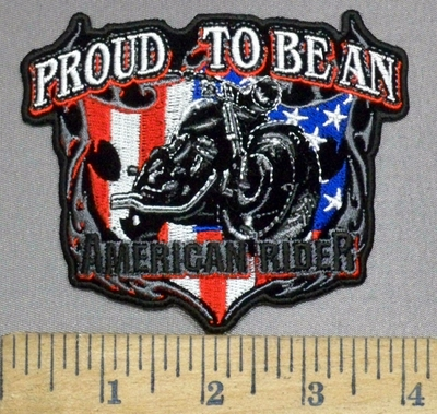 3926 N - Proud To Be An American Rider- Motorcycle With American Flag - Embroidery Patch