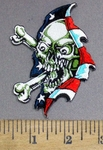 3927 N - Skull With Cross Bones Ripping Thru American Flag - Embroidery Patch