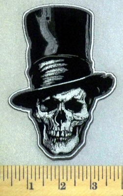 3928 G - Skull Face With Top Hat  - Embroidery Patch
