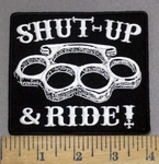 3949 G -  DISCONTINUED Shut-Up & Ride! - Brass Knuckles- Embroidery Patch
