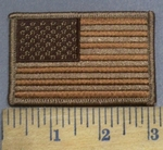 3950 G - Brown And Tan American Flag - Embroidery Patch