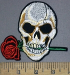 3974 C - Skull Holding Red Rose In Teeth - Embroidery Patch