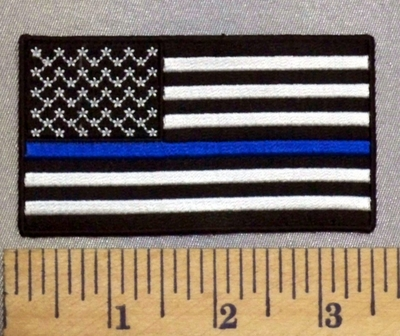 3978 CP - Thin Blue Line - Black And Gray American Flag - Black Border - Embroidery Patch