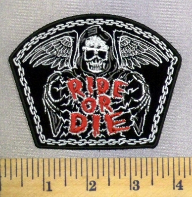 3979 G - Reaper On Tombstone - Ride Or Die - Wings - Embroidery Patch