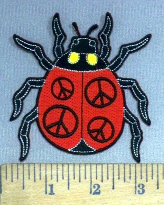 3999 N - Lady Bug With Peace Signs - Embroidery Patch
