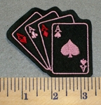 2380 L - 4 Aces in Pink And Red - Embroidery Patch