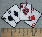 3534 N - 4 Aces With Smoking Heart - Embroidery Patch