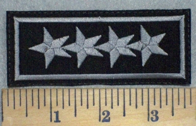 3502 L - 4 Stars - gray - Embroidery Patch