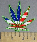 4001 N - American Flag Marijuana/Pot Leaf - Embroidery Patch