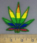 4002 N - Colorful Marijuana/Pot Leaf - Embroidery Patch