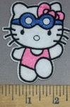 4007 C - Hello Kitty #2 - Swimming - Embroidery Patch