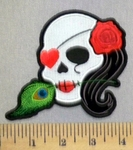 4008 CP  - White Sugar Skull With Heaet Shaped Eye Patch - Feather And Red Rose -Embroidery Patch