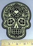4025 G - Golden Sugar Skull - Ride Forever - Love Forever - Tattooed In Forehead - Embroidery Patch