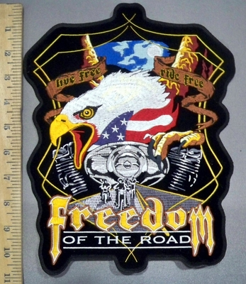 4027 G - Freedom Of The Road - American Eagle With V- Twin Engines - Back Patch - Embroidery Patch