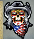 4028 N - Skull Face Wearing  Cowboy Hat -  With American Flag Bandana - Back Patch - Embroidery Patch
