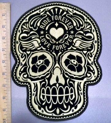 4029 G - DISCONTINUED  Golden Sugar Skull - Rider Forever - Love Forever Tattooed In Forehead - Back Patch - Embroidery Patch