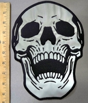 4044 G - Reflective - Large Skull Face - Back Patch - Embroidery Patch